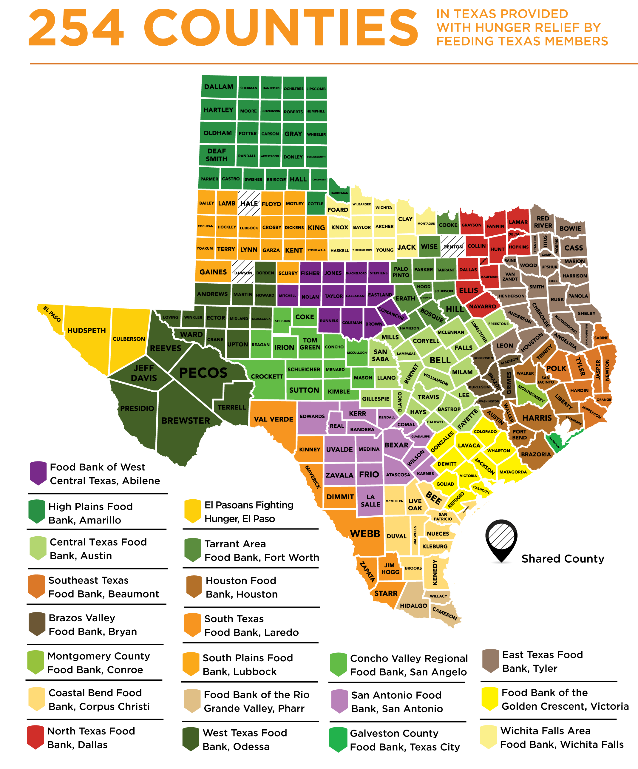 Map of texas showing coverage of each food bank
