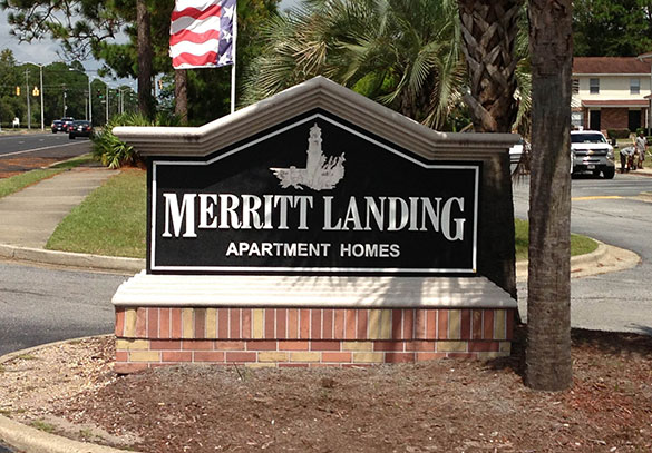 Entrance sign to our Brunswick apartments