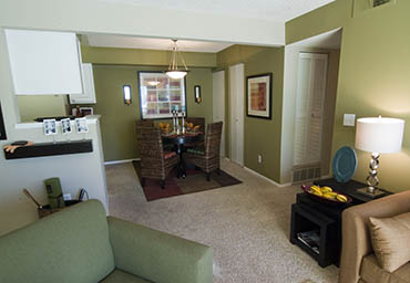 Modern living room at the apartments in Thornton