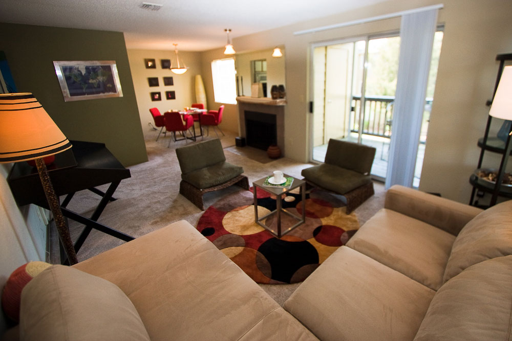Open living room at the apartments in University Place