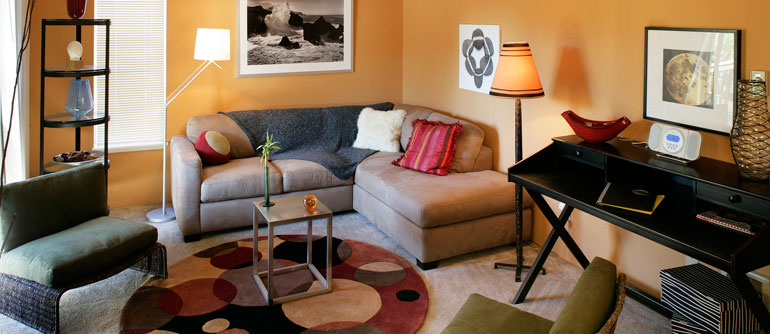 Spacious living rooms in University Place apartments