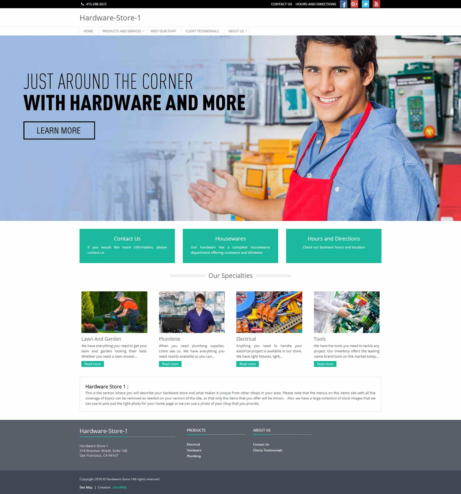 Hardware Store Website In 15 Minutes - izmoweb com