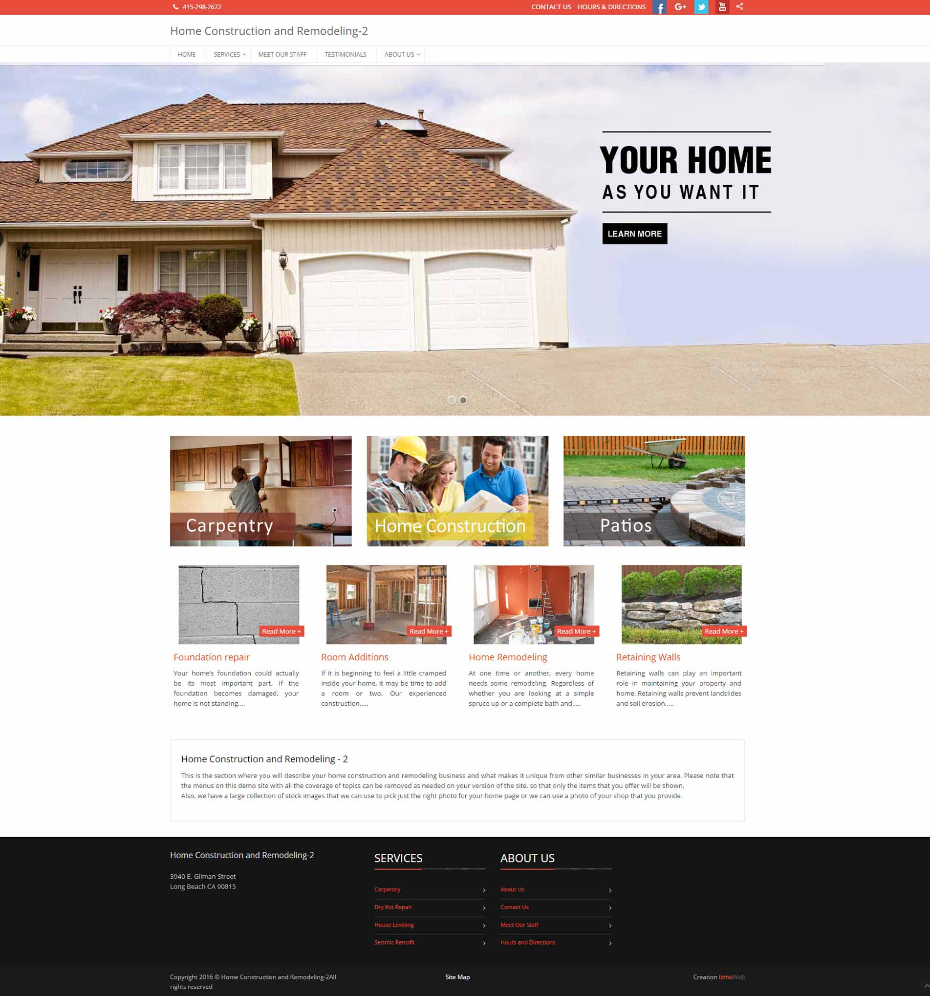 home construction & remodeling website in 15 minutes - izmoweb