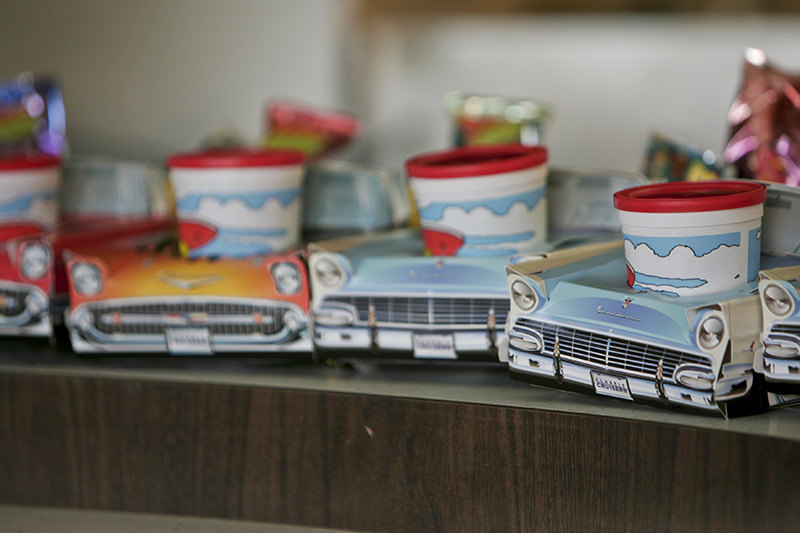 Several kids snack trays folded into the shapes of classic cars are on display in the concession stand at the McHenry Outdoor Theatre. KEVIN SHERMAN/ksherman@dailyherald.com/©Daily Herald
