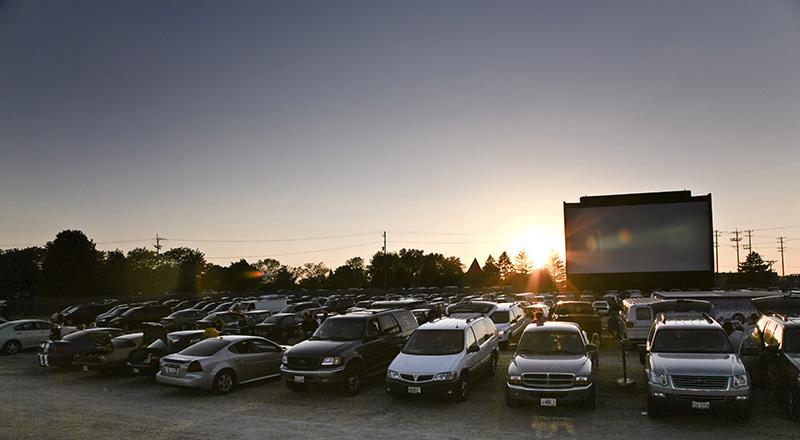 The sun begins to set at the McHenry Outdoor Theatre. Because the screen is outside, the movies do not begin until after sunset. KEVIN SHERMAN/ksherman@dailyherald.com/©Daily Herald