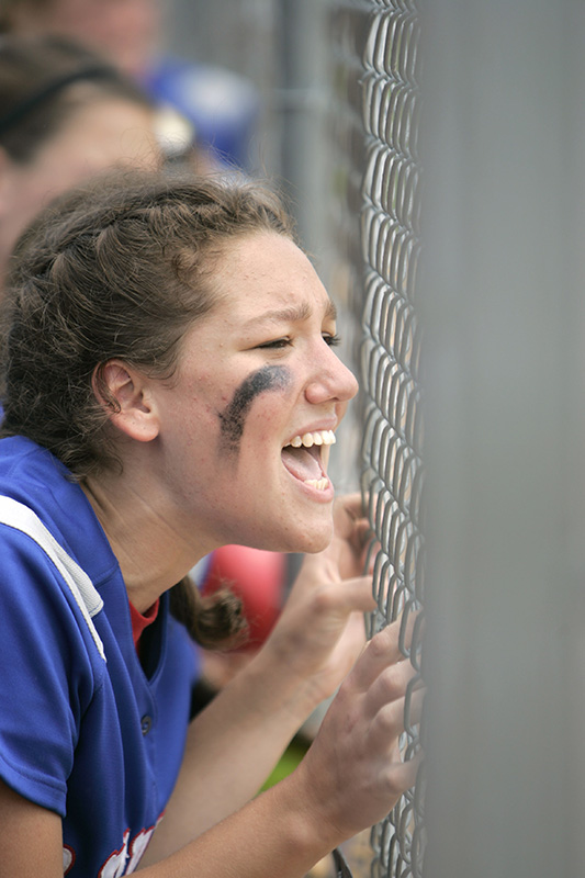 Raiders junior Sarah Goldberg cheers on her team mates during the final moments of their 4-2 loss against the Titans during their Class 3A semi-final game on Friday afternoon at the Eastside Centre fields in East Peoria. Kevin Sherman/ksherman@dailyherald.com/©Daily Herald