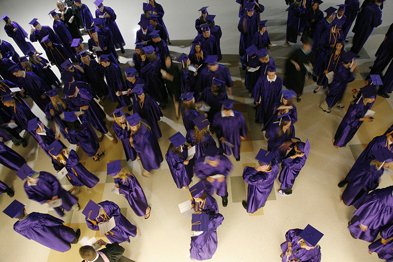 Hampshire graduates line up before the start of their Graduation Commencement on Saturday evening. Kevin Sherman/ksherman@dailyherald.com/©Daily Herald