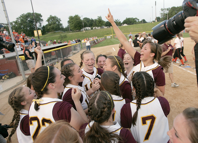 Loyolas Maggie Mullen, right, jumps into the air after their 2-0 victory over Edwardsville to claim the Class 4A championship title on Saturday evening at the EastSide Centre fields in East Peoria. Kevin Sherman/ksherman@dailyherald.com/©Daily Herald
