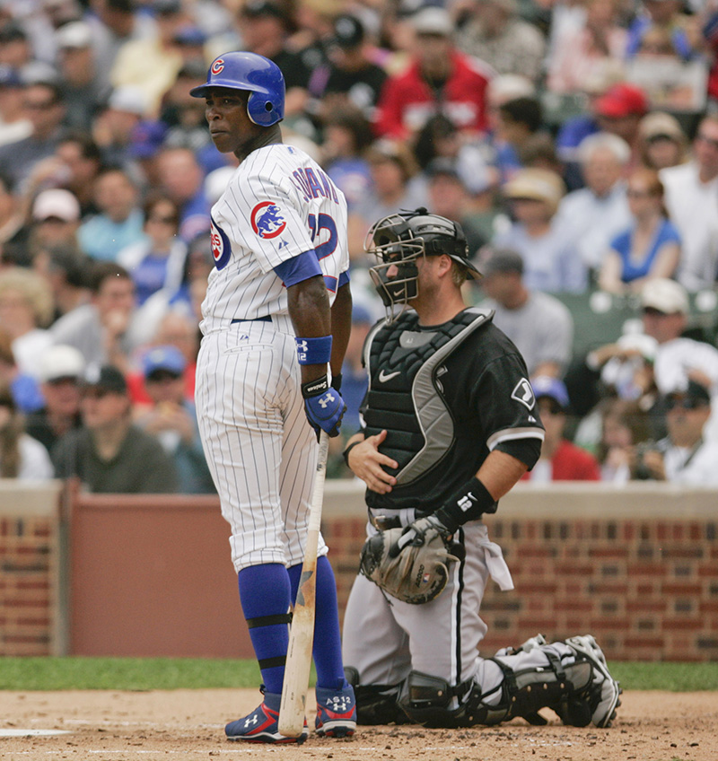 Alfoso Soriano looks towards the third base coach during their game against the White Sox on Wednesday afternoon at Wrigley Field. Kevin Sherman/ksherman@dailyherald.com/©Daily Herald