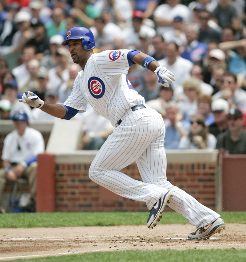 The Cubs Derek Lee watches after hitting a single in the second inning of their game against the White Sox on Wednesday afternoon at Wrigley Field. Kevin Sherman/ksherman@dailyherald.com/©Daily Herald