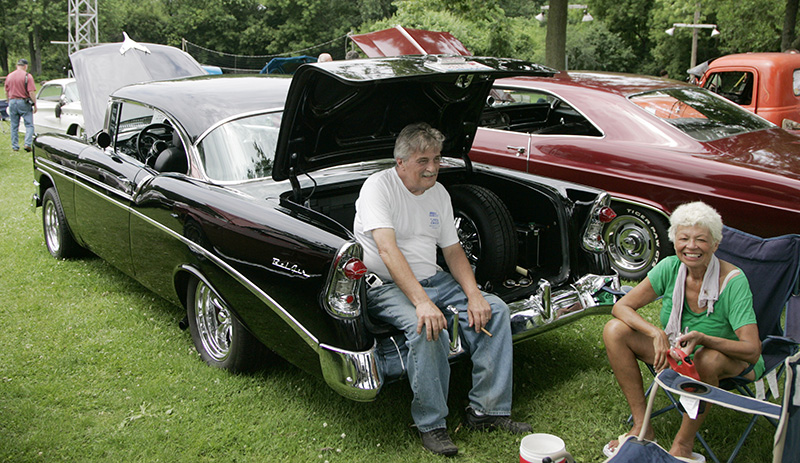 Bruce and Sue Colwell sit with their 1956 Bel Air at the Old Gold Cruisers Fathers Day Car show in Batavia on Sunday afternoon. Kevin Sherman/ksherman@dailyherald.com/©Daily Herald