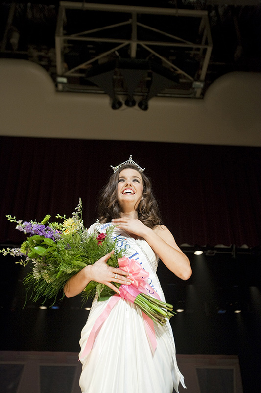 Miss Illinois 2009 pageant winner Erin OConnor stands on the stage after being crowned at the Norris Cultural Arts Center in St. Charles on Saturday night. Kevin Sherman/ksherman@dailyherald.com/©Daily Herald