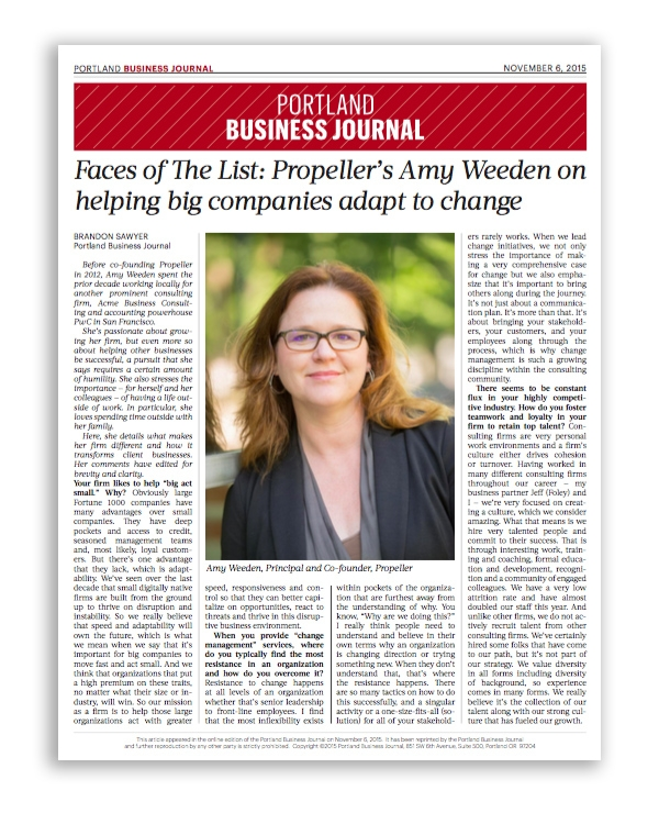 Portland Business Journal Propeller's Amy Weeden on Helping Big Companies Adapt to Change