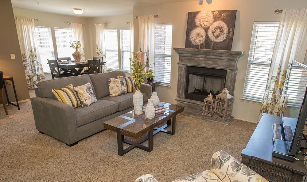 Jenks apartments offer fireplaces inside living rooms