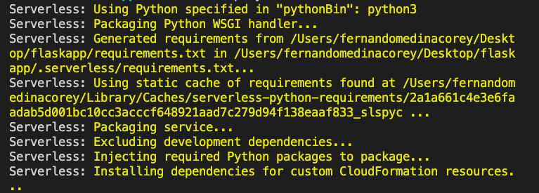 Output part one, with the Serverless Python Requirements