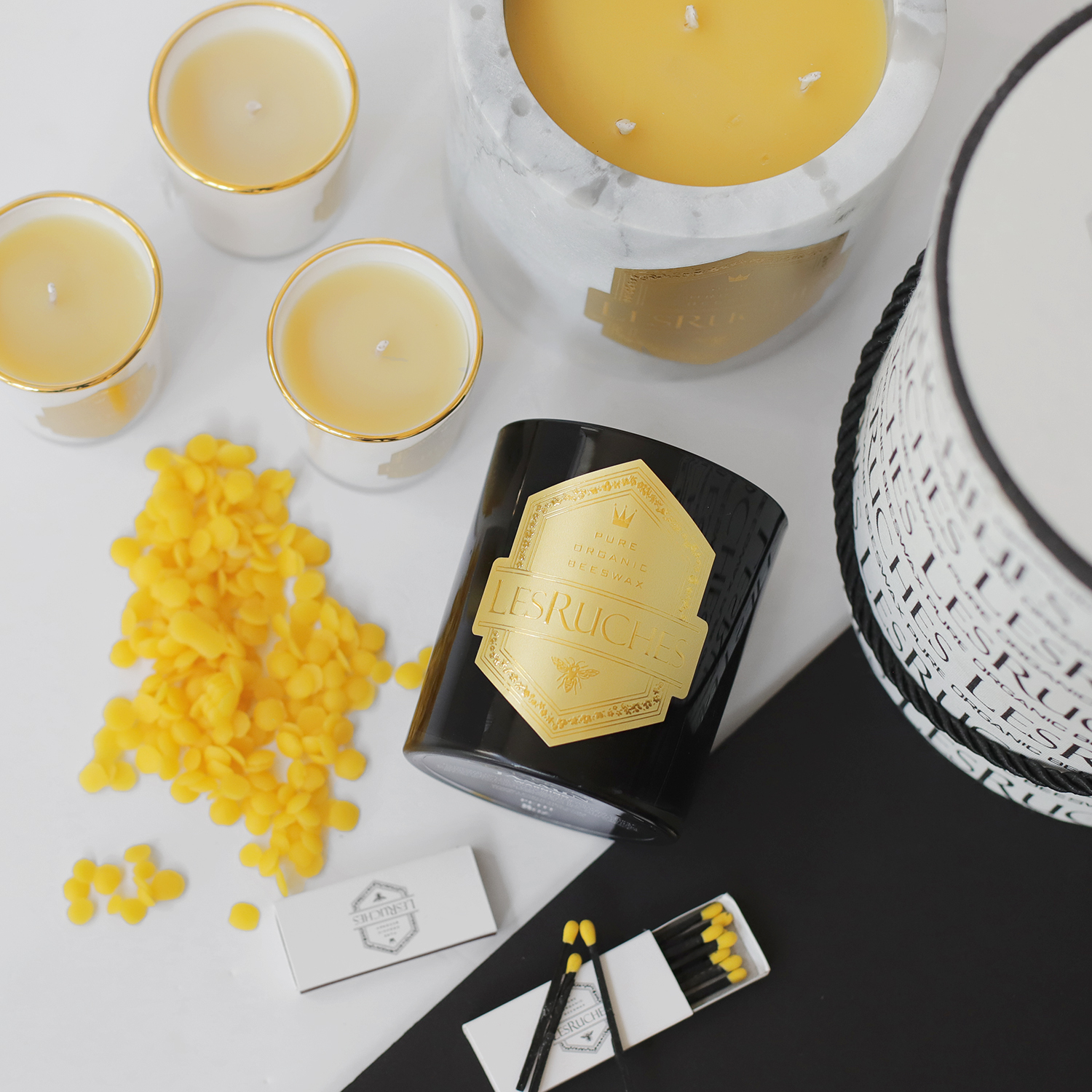 lesruches-candle-with-beeswax-pastilles-full-candles-matchbook-lesruches-candle-making-spread