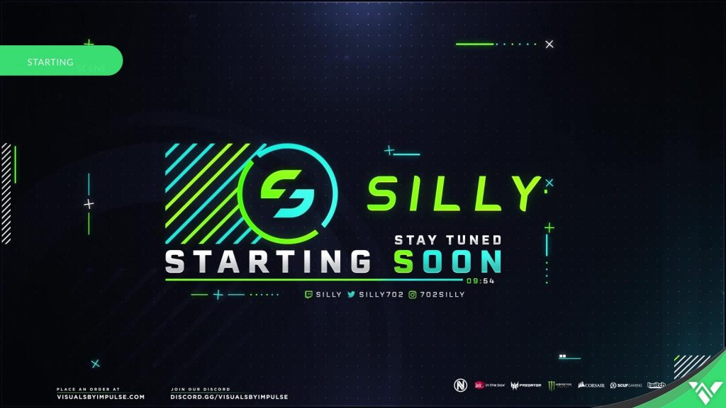 Silly Starting Soon Screen over Dark Background