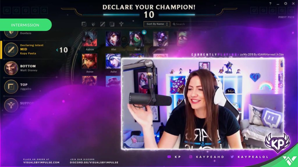 Female Streamer Playing League of Legends with webcam