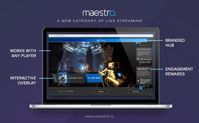 Maestro infographic showing laptop and stream overlays with tooltips