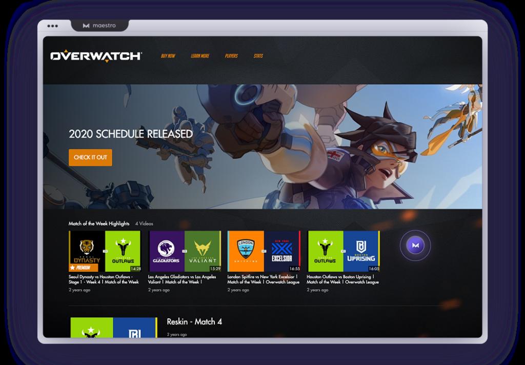 Overwatch League custom offline screen in computer browser