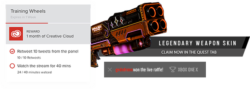 Quest Contest Overlay showing legendary video game blaster and adobe creative prize
