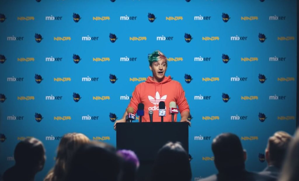 ninja gamer at podium press conference announcing mixer switch (1)