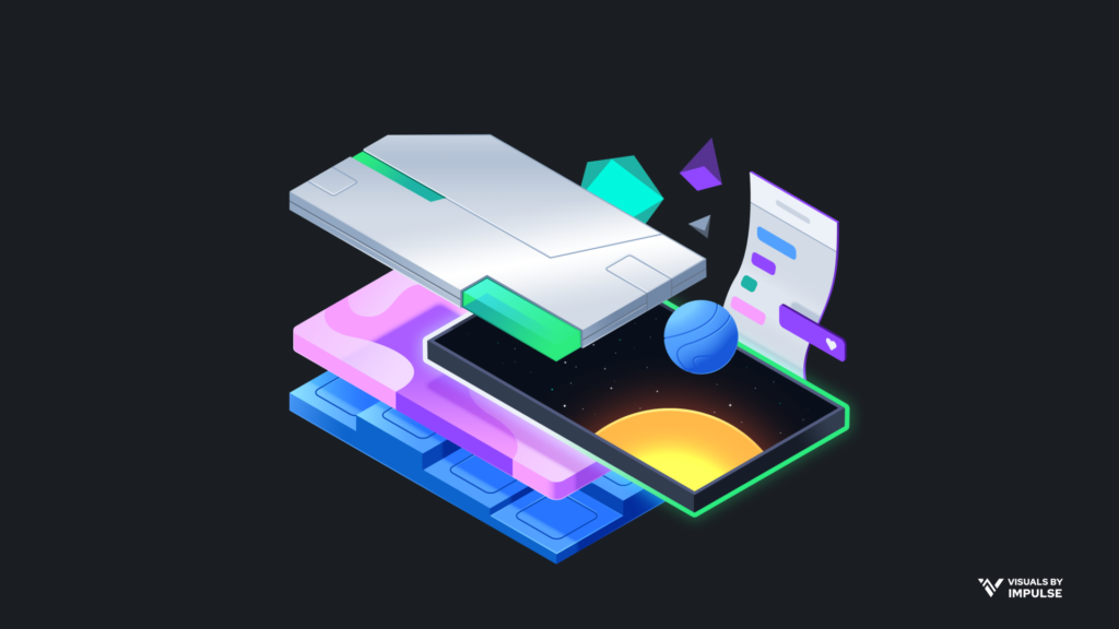 Floating isometric representation of stream overlays