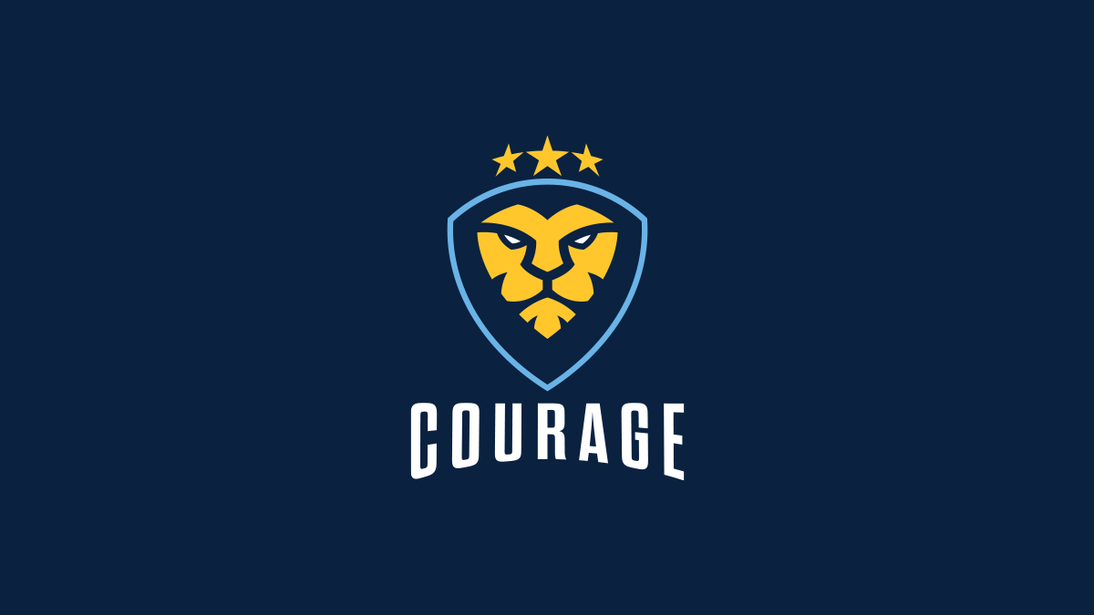 CouRage golden Lion Logo vertical lockup over blue background