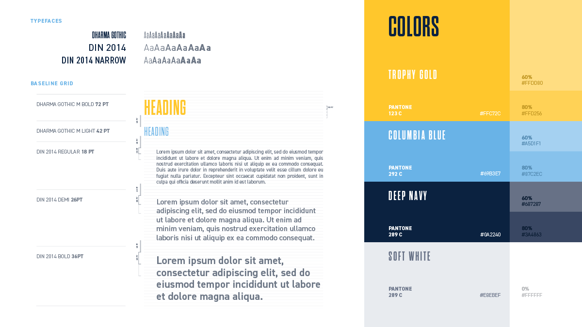 CouRage brand typography and colors chart