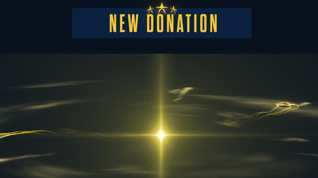 courage new donation alert with golden stars and soundwaves
