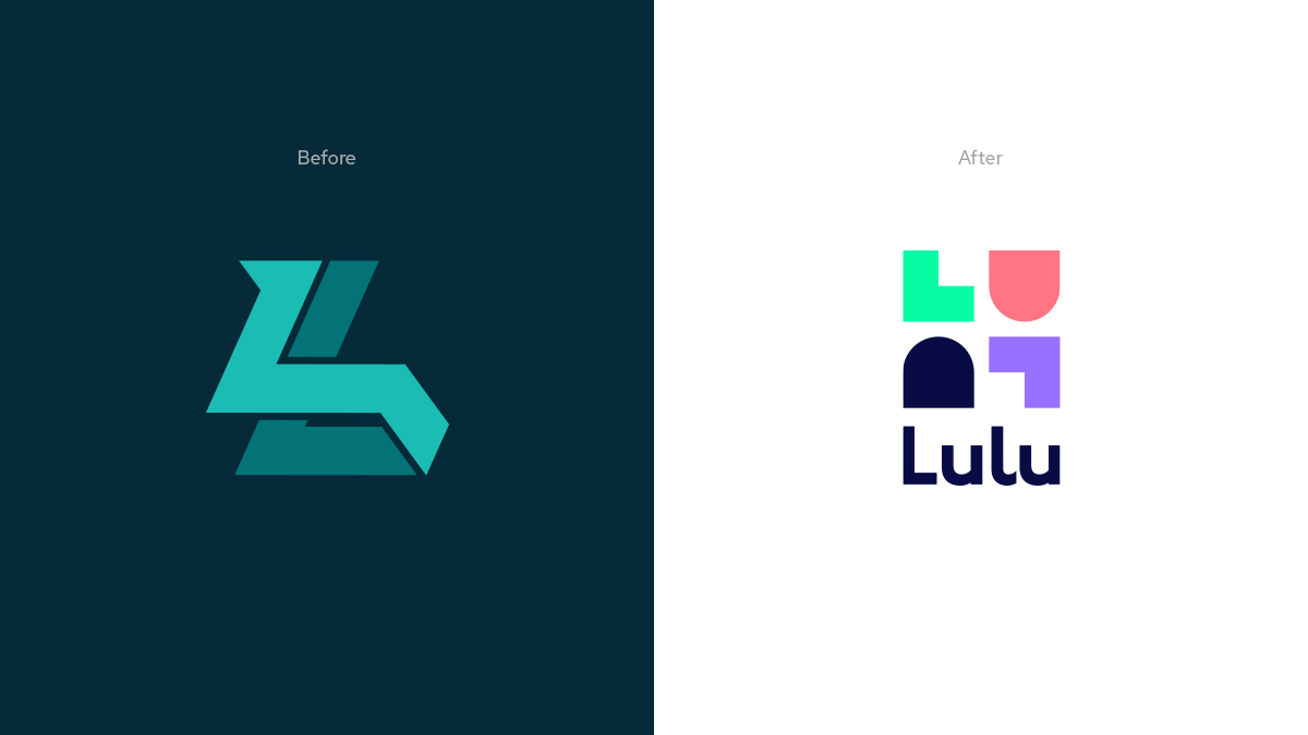 LuluLuvely Logos before and after
