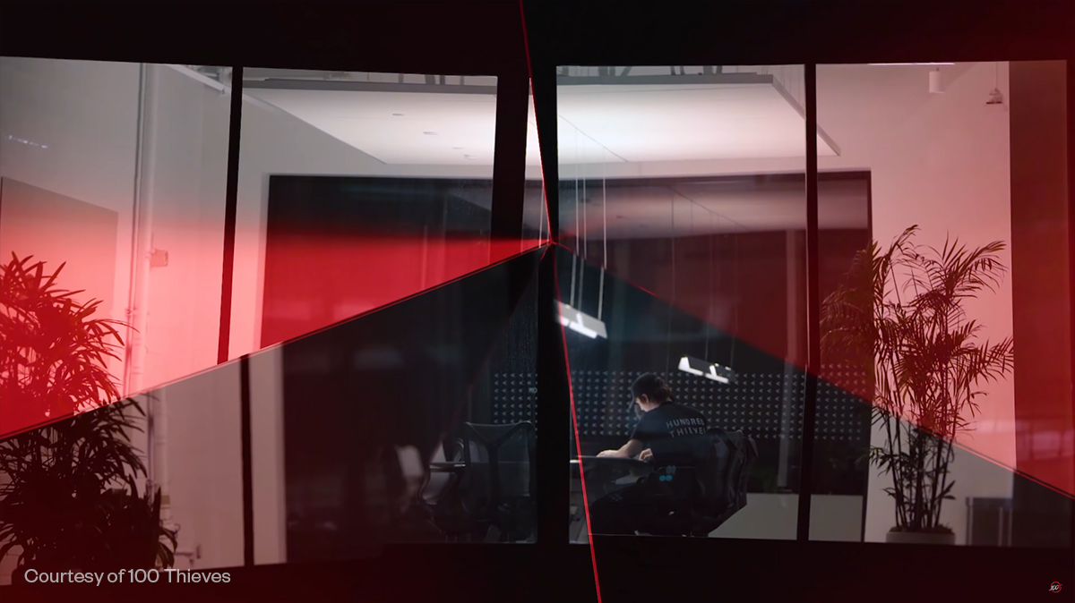 Red refracting light in 100 Thieves office