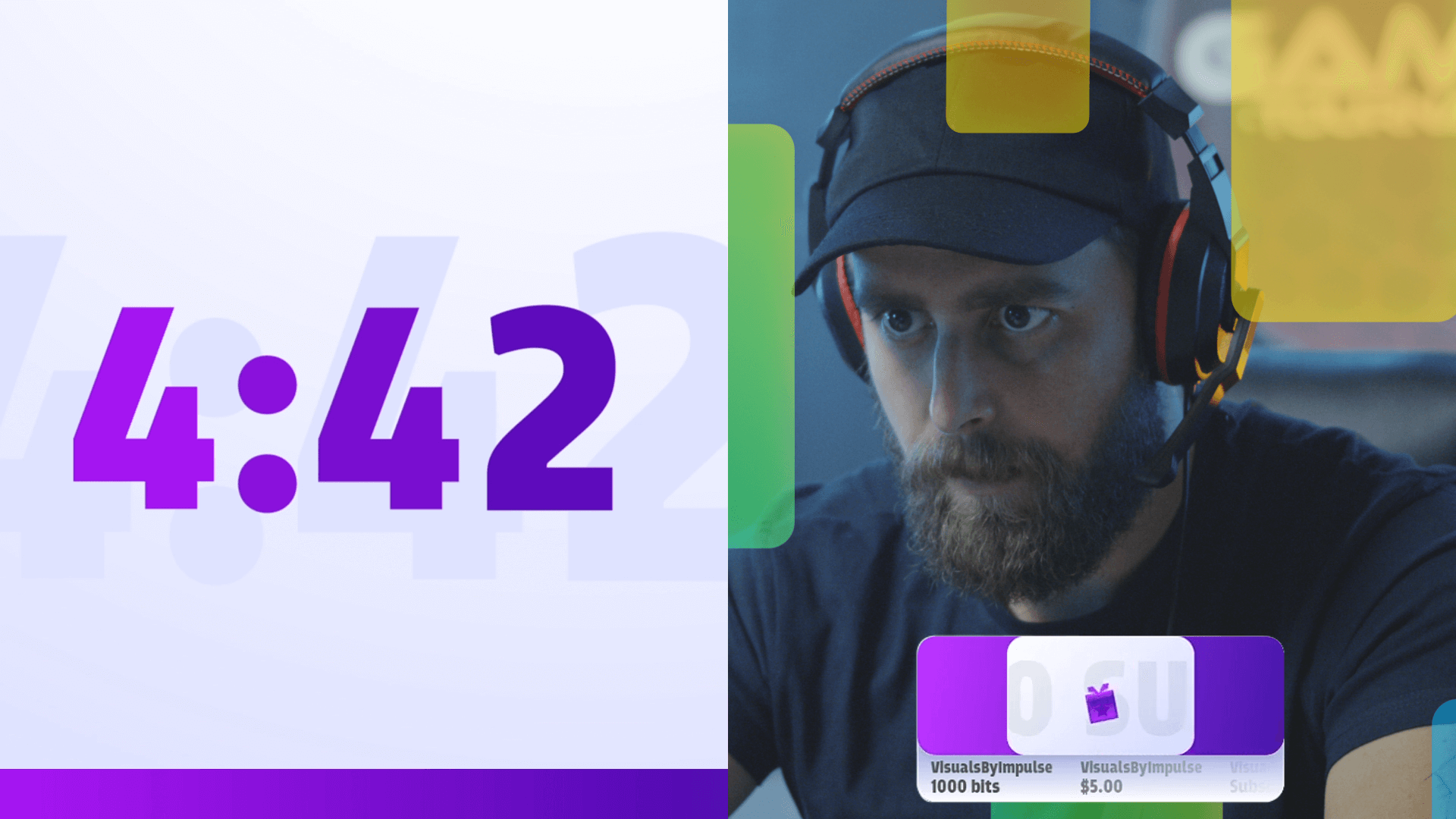 streamer layout with countdown timer and webcam