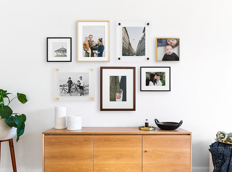 gallery wall with different types of frames