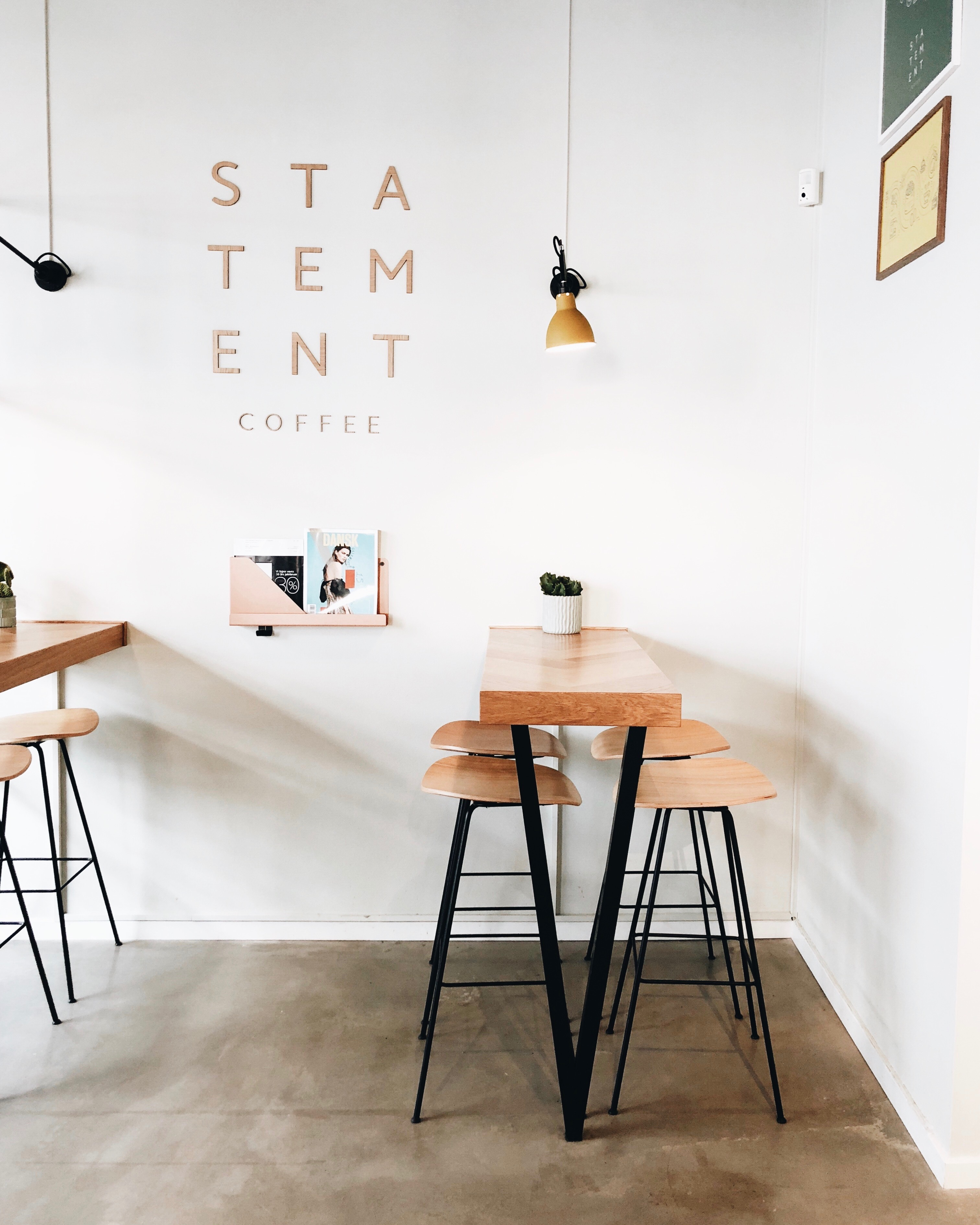 Interior of uniquely designed coffee shop named Statement Coffee