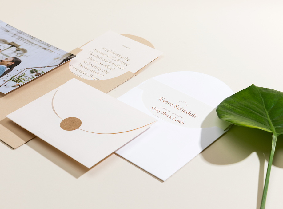 Different wedding invitations and day-of paper