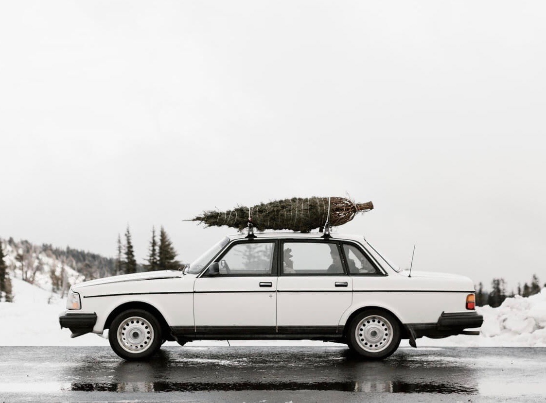 Old car with Christmas tree strapped to roof
