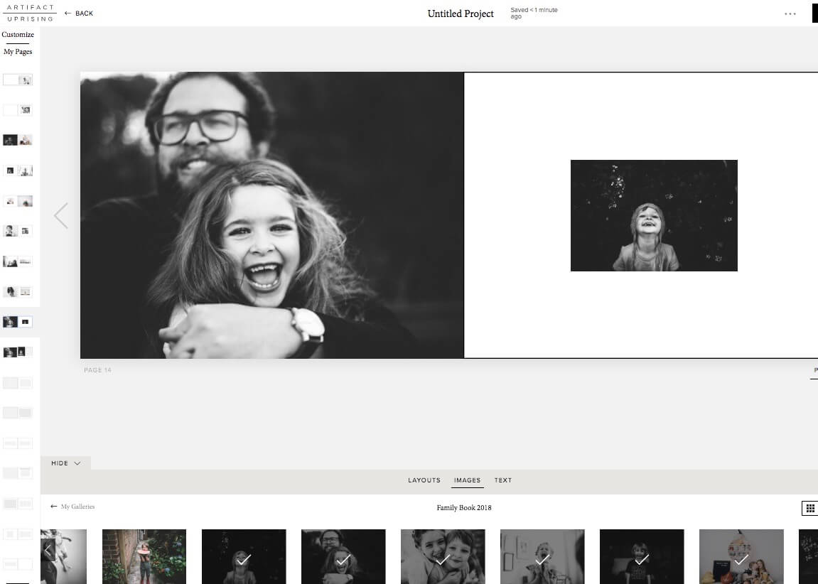 Choosing layouts and adding photos in Artifact Uprising Photo Book Editor