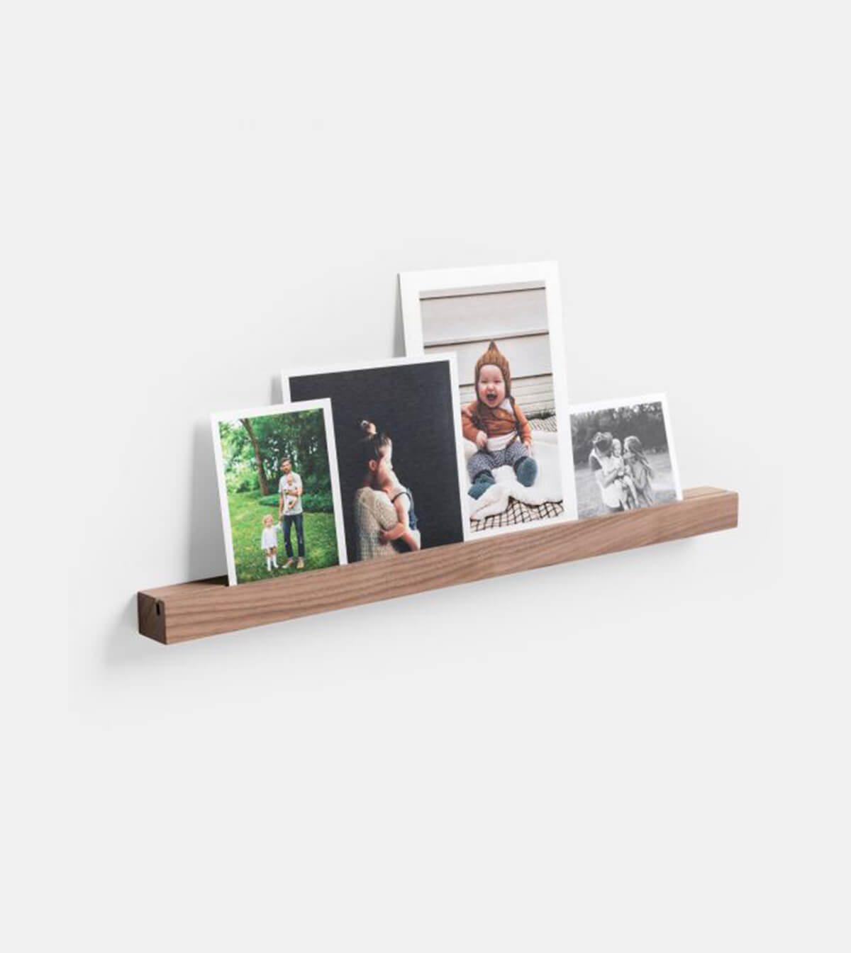 Wooden Photo Ledge holding prints