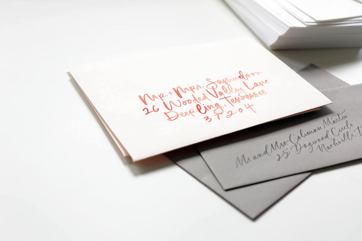 wedding invitation envelopes with calligraphy address