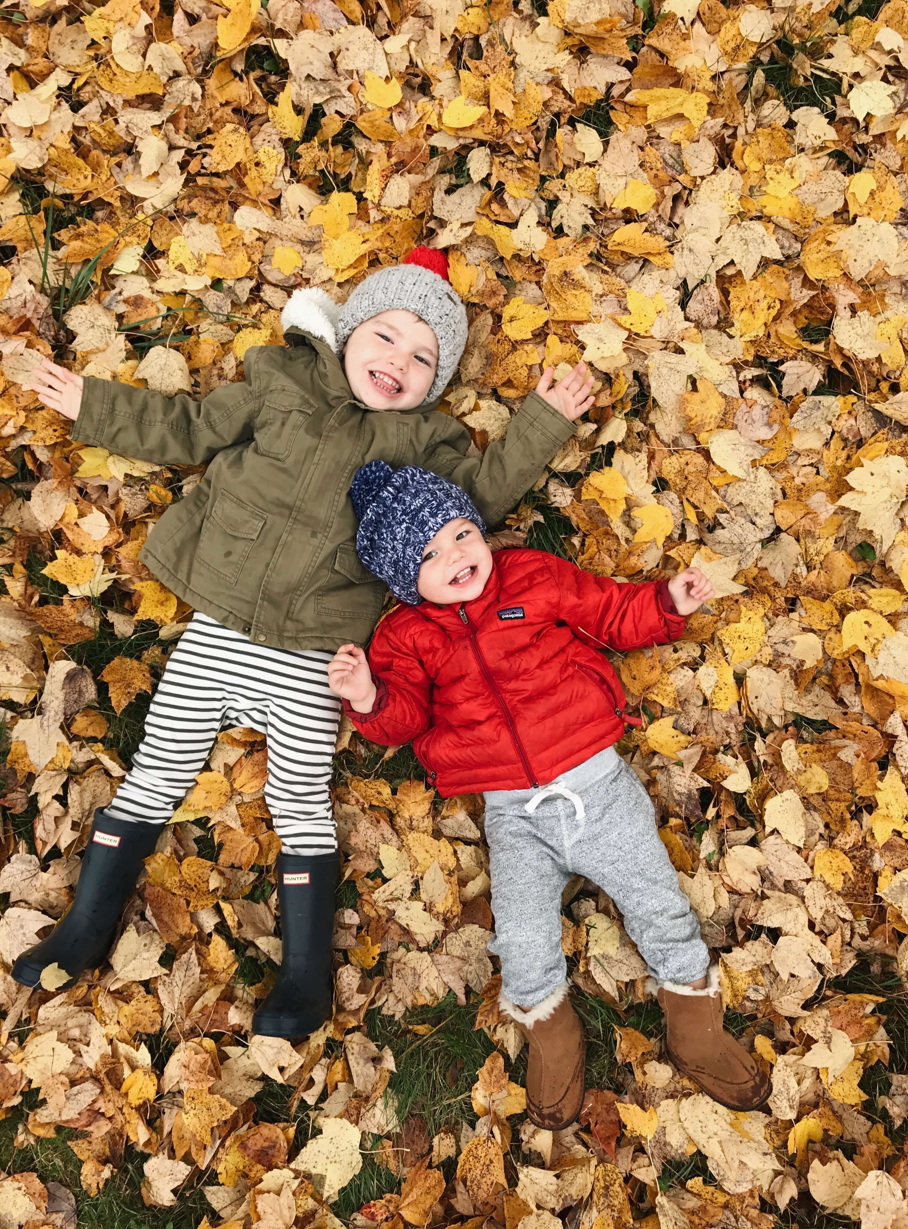 Two little boys lying in pile of fall leaves