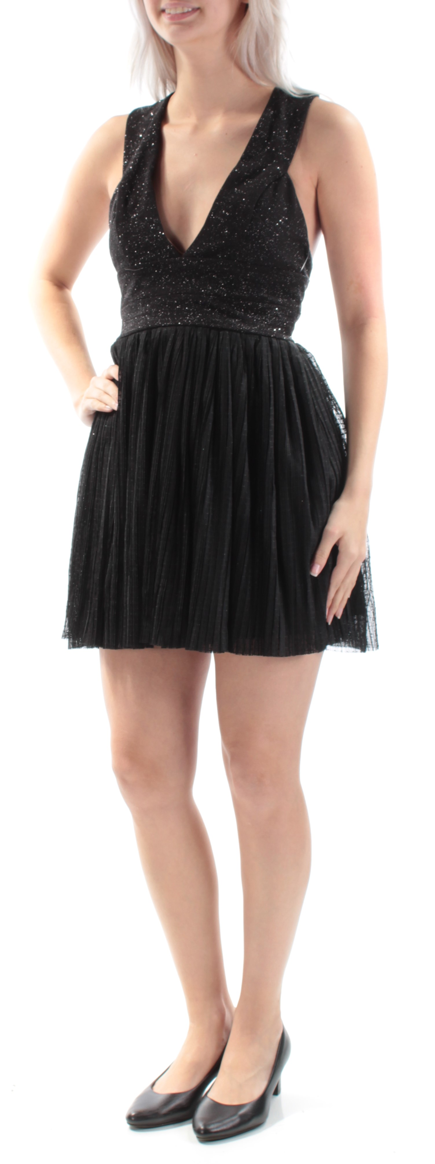bd0330e3c TRIXXI $79 Womens New 2026 Black Glitter Baby Doll Dress 5 Juniors B ...