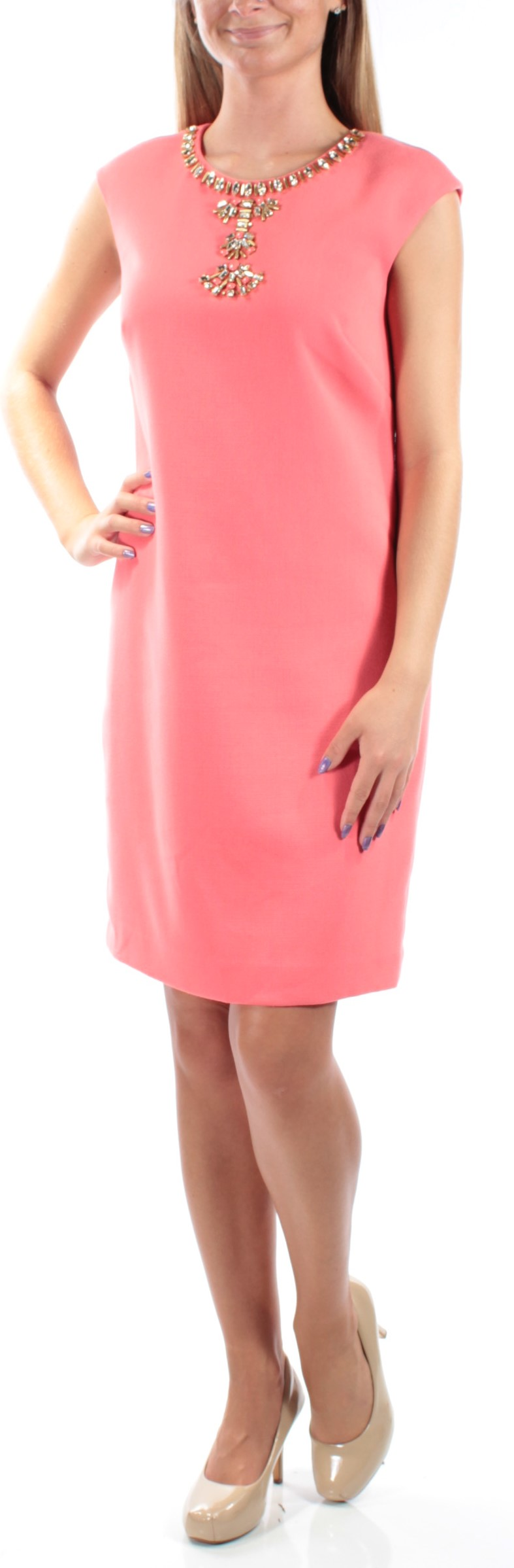 9790aaeee8e8 VINCE CAMUTO $168 Womens 1160 Coral Cap Sleeve Shift Party Dress 10 B+B