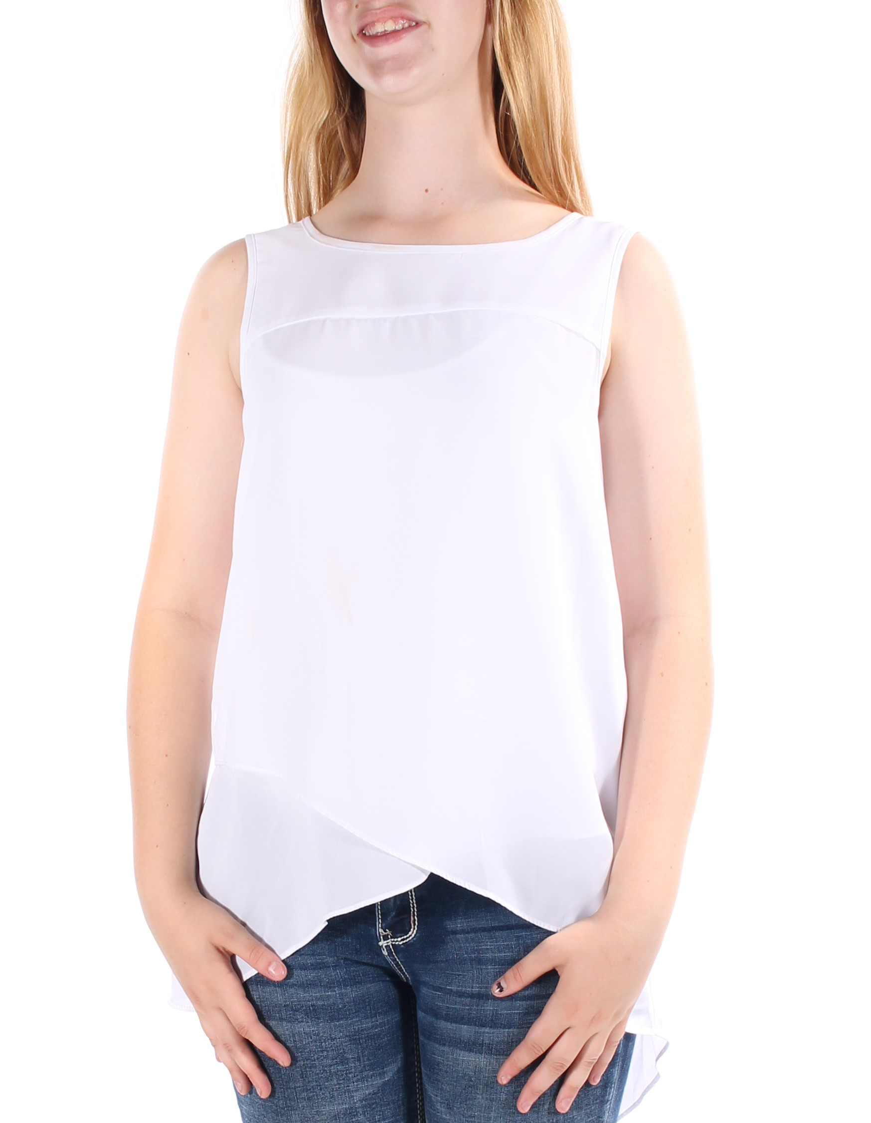 CABLE AND GAUGE Womens New 1337 White Jewel Neck Sleeveless Hi-Lo ...