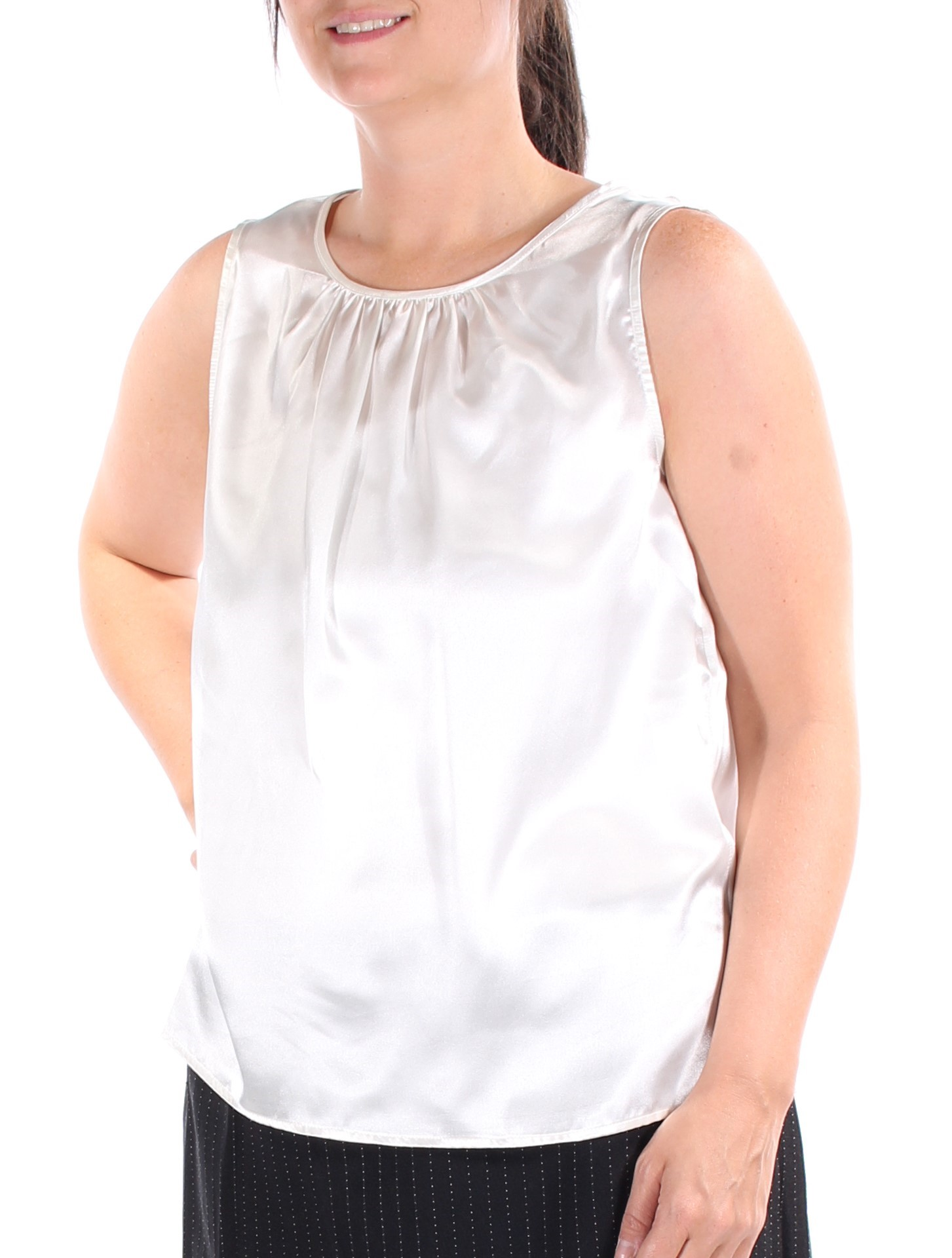 LE SUIT Womens New 1041 Ivory Jewel Neck Sleeveless Casual Top 12 B+ ... 4d32fd39d