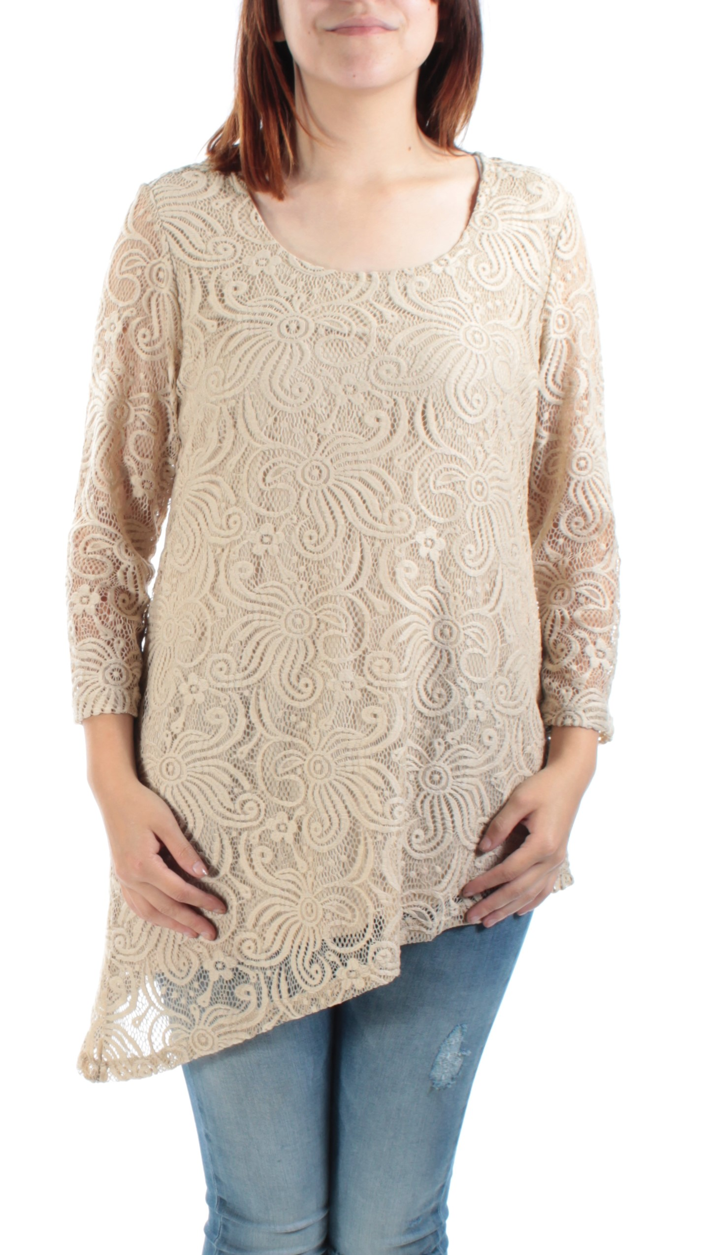 JM-COLLECTION-Womens-New-1150-Beige-Scoop-Neck-3-4-Sleeve-Lace-Casual-Top-S-B-B