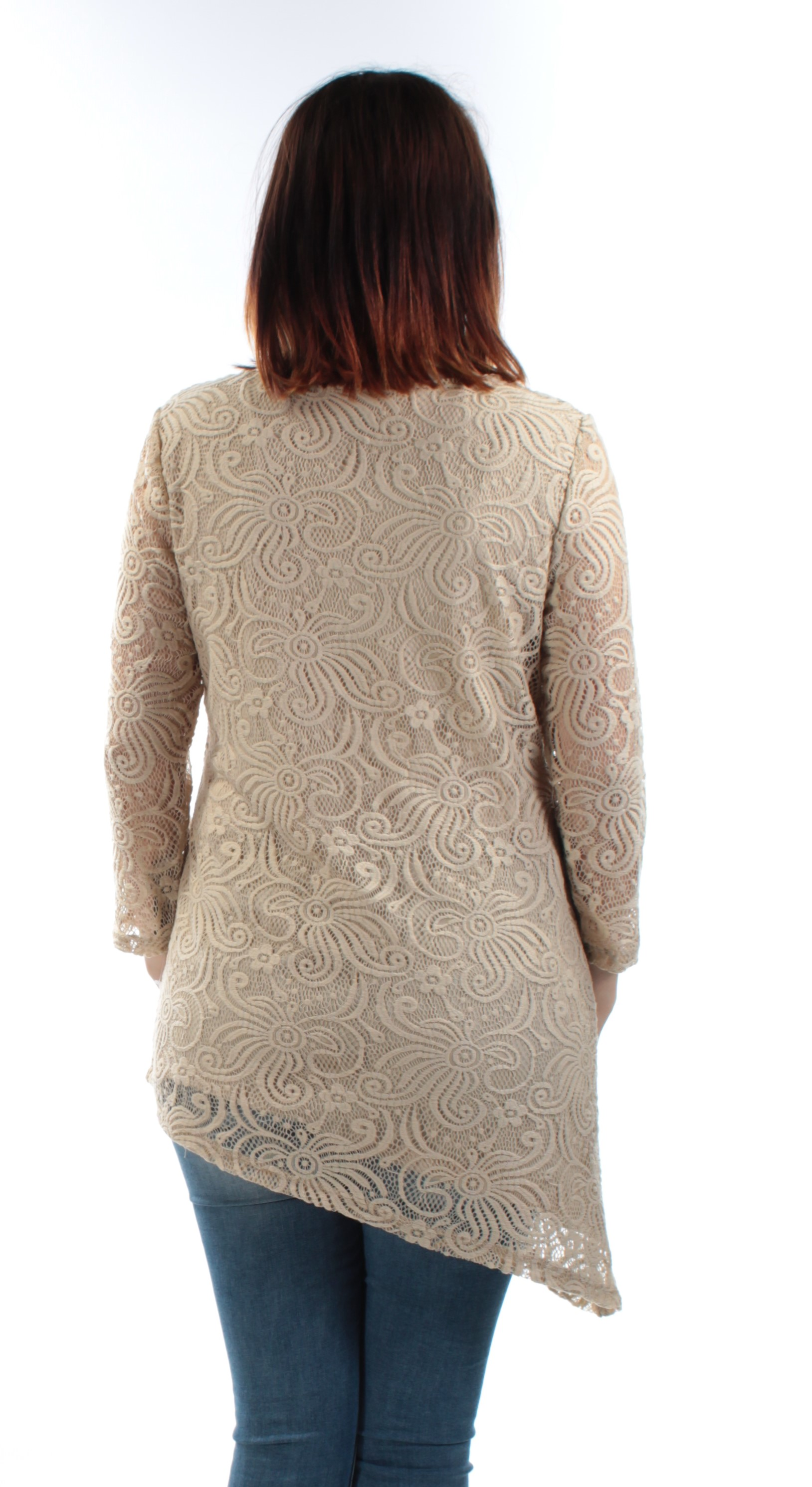 JM-COLLECTION-Womens-New-1150-Beige-Scoop-Neck-3-4-Sleeve-Lace-Casual-Top-S-B-B thumbnail 2