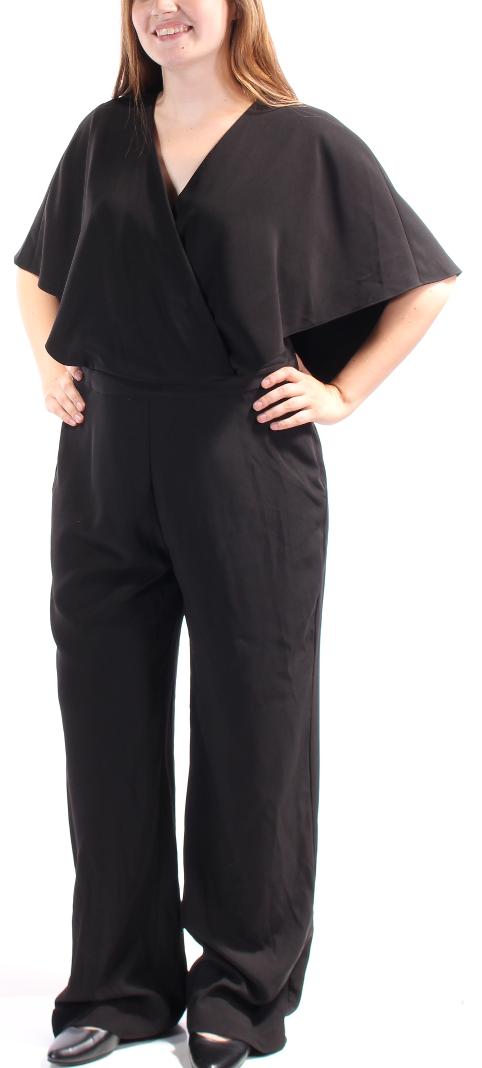 121e1f0208 Alfani ALFANI  129 Womens New 1030 Black Faux Wrap Wide Leg Jumpsuit ...