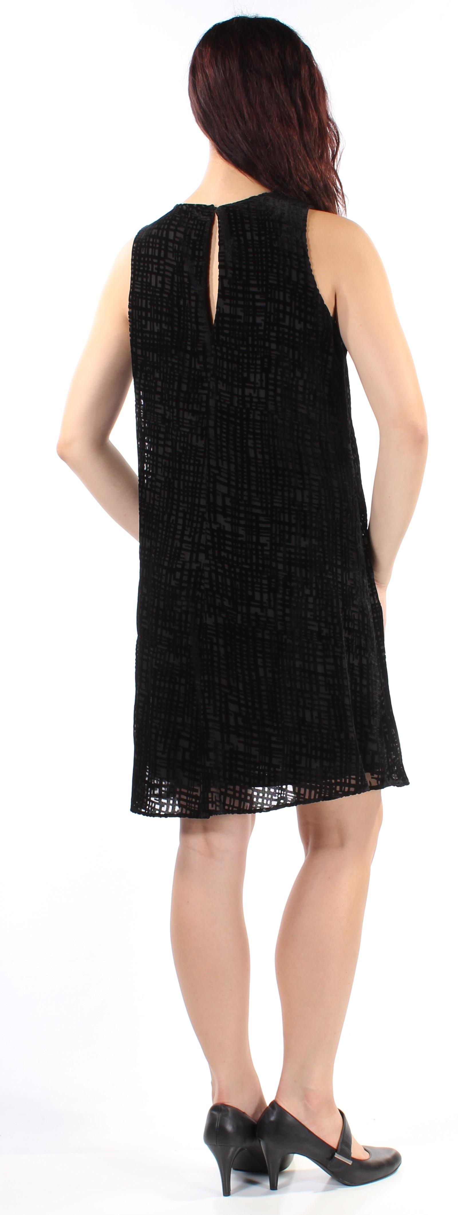 19ea2e14c42d6e CALVIN KLEIN  134 Womens 1116 Black Velvet Shift Dress 10 B+B ...
