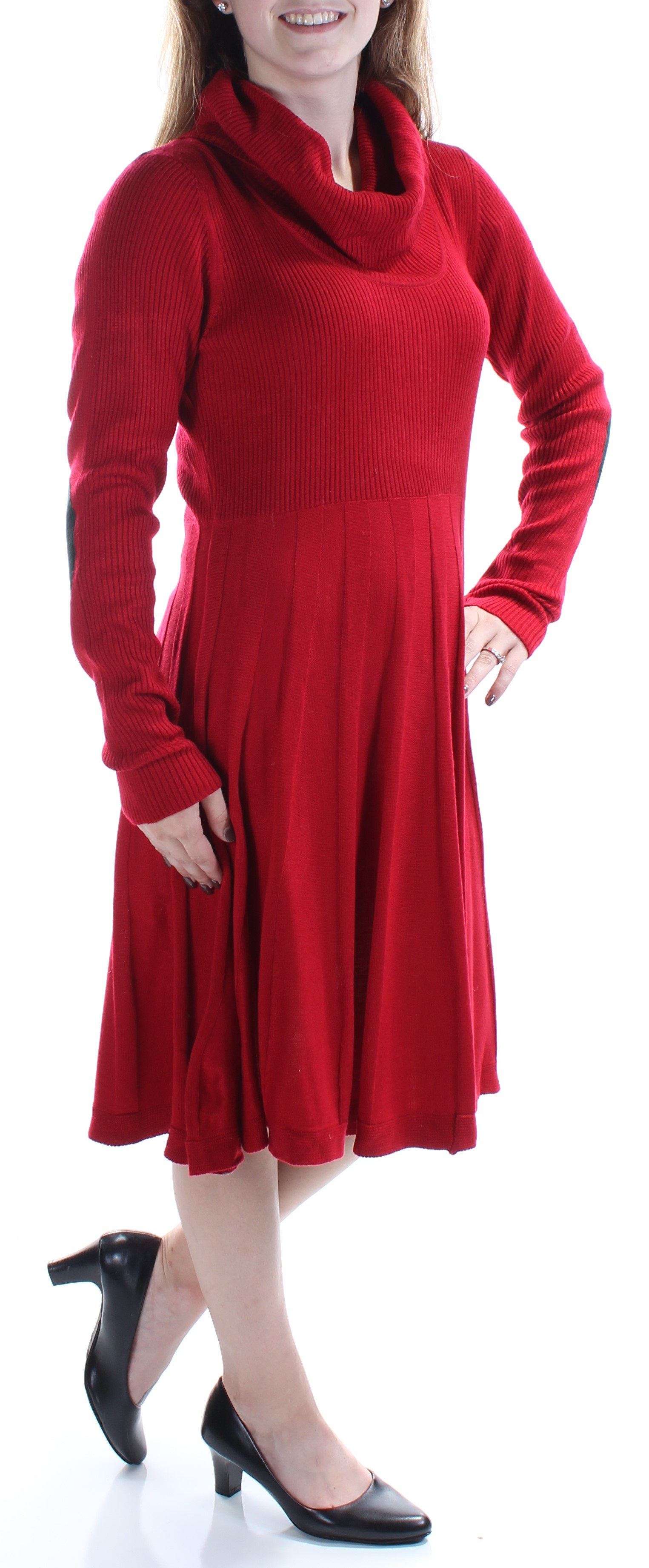 bac58a81 CALVIN KLEIN $134 Womens New 1036 Red Sweater Long Sleeve Dress M B+ ...